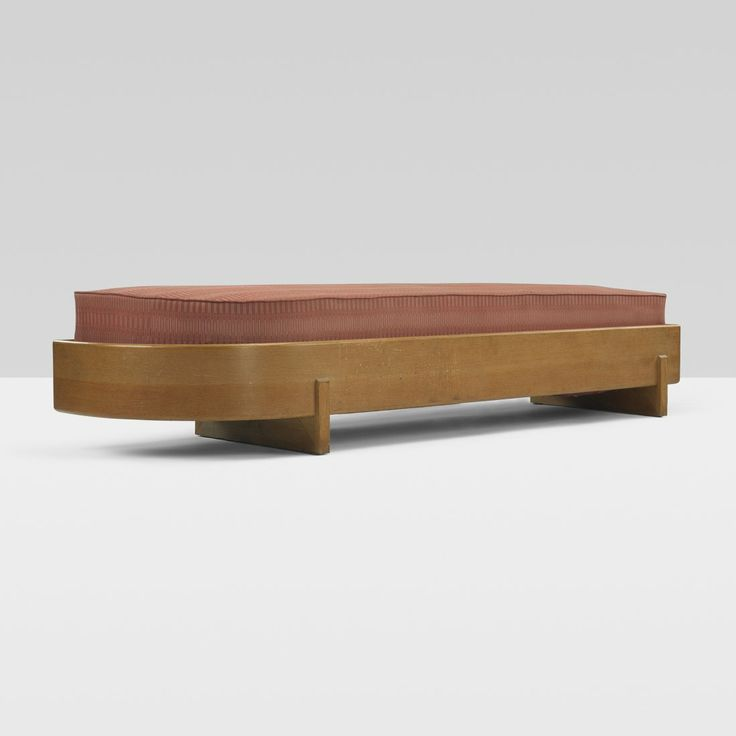 // Frank Lloyd Wright; Stained Oak Bench from Wingspread, c1938.