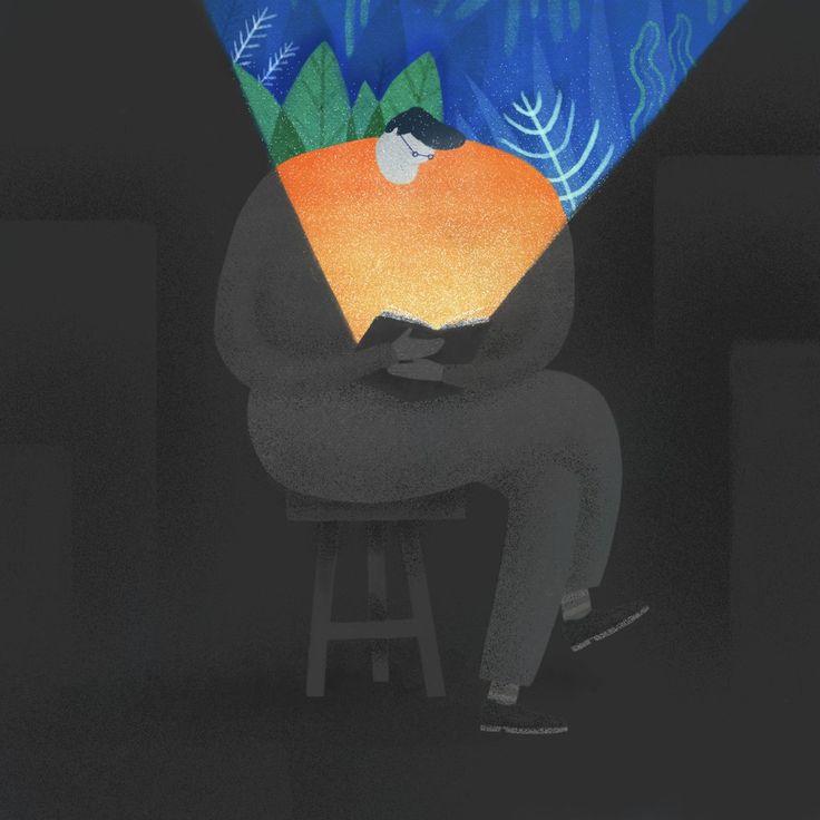 — В жизни есть более важные вещи, чем чтение книг. — Правда? Я так не думаю. Книги — это всё.  («Когда ты в последний раз видел своего отца?»).  Иллюстратор: Mark Conlan.  #книги #книголюб #чтение #книжки #иллюстрация #цитаты #мысль #books #reading #book #книга #искусство #art