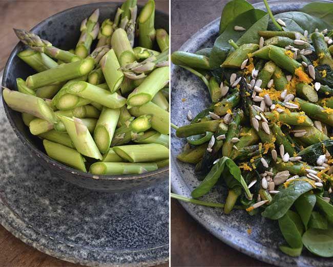 twin-food.dk salat-med-spinatblade-asparges-og-solsikkekerner