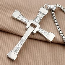 The Fast And Furious 8 Pure 925 Sterling Silver Dominic Toretto Cross <strong>Pendant</strong> <strong>Necklace</strong> For Vin Diesel