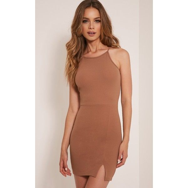 Aniqah Camel High Neck Split Detail Bodycon Dress-6 ($12) ❤ liked on Polyvore featuring dresses, camel, high neckline dress, bodycon cocktail dress, high neck bodycon dress, going out dresses and brown party dress