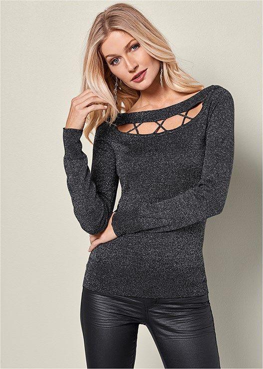 163f04f9e63 Venus Women s Cut Out Boatneck Sweater Sweaters - Black grey