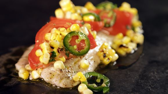 Michael Symon's Grilled Striped Bass with Tomato Corn Salad