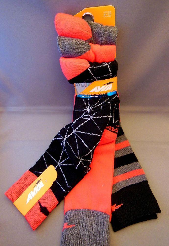 dfa57b2d9 Avia Color Pulse Knee Socks Size Ladies 4-10 3 Pair Pink Black Gray  Avia   KneeHigh