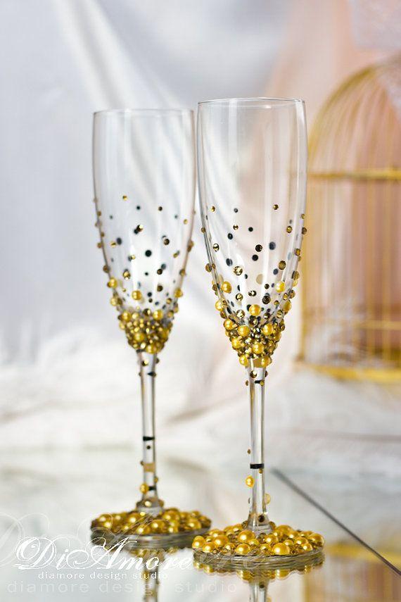 Vidrios de la boda de la boda de oro Gatsby Estilo Champagne Flautas / oro / pluma Flautas / Set de 2 de Oro