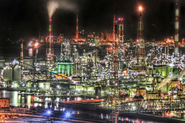 The night view of factory