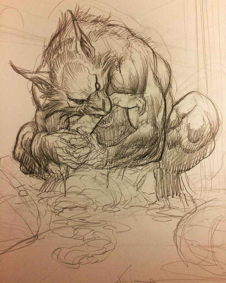 Werewolf feasting, work in progress. It's 4:30 in the morning. I can't sleep. So I'm working on my creator owned book, Skybourne. In this scene, all the creatures are out of their cages and things get serious. It's like Bruce Lee's Game of Death. Our hero has to go floor by floor and battle all the monsters and creatures. On this level is a very hungry werewolf. #frankchoartist #skybourne #boomstudios #boomcomics #werewolf #monsters #horror