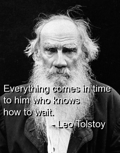 Everything comes in time to him who knows how to wait. - Leo Tolstoy