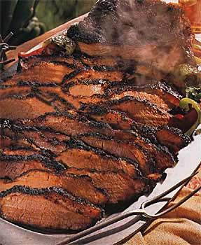 Aunt Mary Helen's BBQ Beef Brisket: 5-6 lb brisket, liquid smoke (LS), celery sauce, worcestershire sauce, onion salt, garlic salt, BBQ sauce. Sprnkl brisket w/ the 3 salts, pour LS over meat & put in fridge overnight. Pour off LS, salt/pepper meat, pour on worc. sauce & cover w/ foil. Bake @ 275 for 5 hrs. Uncover & pour on 3/4c bbq sauce. Recover & bake 1 more hour. Let stand 1 hr before serving into thin slices. Combo 2 tbs flour & 1c water into paste, heat w/ more bbq to thin. 5/5.RM