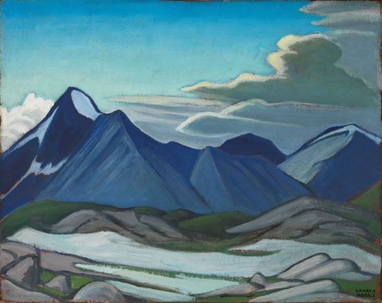 Lawren Harris - Mount Owen Near Lake O'Hara Mountain Sketch XII 12 x 15 Oil on board (1926)