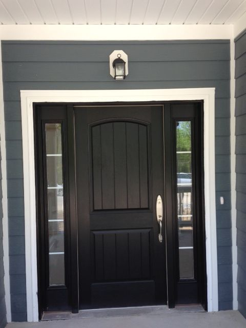 Front door with sidelites unique ridgewood dual master for Black wooden front door