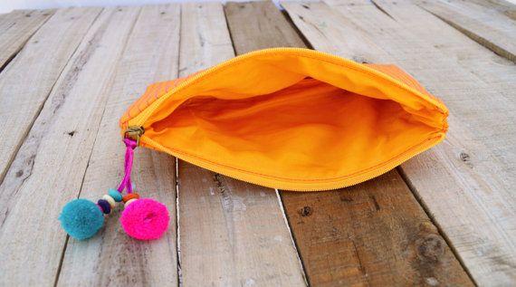 Naranja bolsa bolso de la cremallera se componen o por VLiving