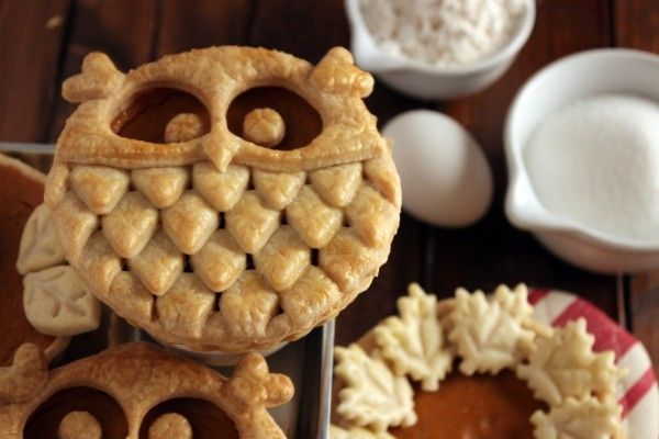 adorable owl shapes pie crusts. need to find a tear drop cookie cutter.