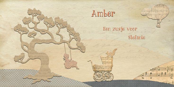 Geboortekaartje meisje - grote zus - Pimpelpluis https://www.facebook.com/pages/Pimpelpluis/188675421305550?ref=hl (# zus - zusje - koets - boom - bloem - bloemenpatroon - lief - ballon - luchtballon - muzieknoten - origineel)