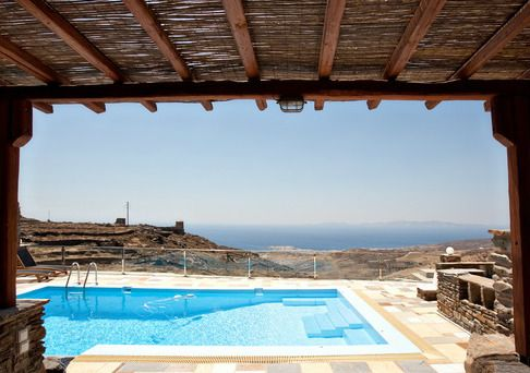 Enjoy the amazing view over the Aegean sea from your private terrace in an island style holiday house in Tinos http://www.tinos-habitart.gr/orange-house.php