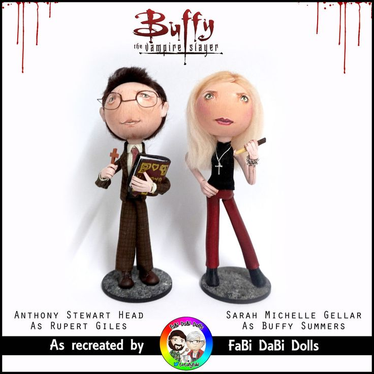 Buffy and Giles Buffy the Vampire Slayer peg dolls from FaBi DaBi Dolls