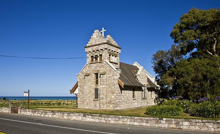 Wharanui Church, built to withstand the fierce conditions that can prevail,  see more at New Zealand Journeys app for iPad www.gopix.co.nz