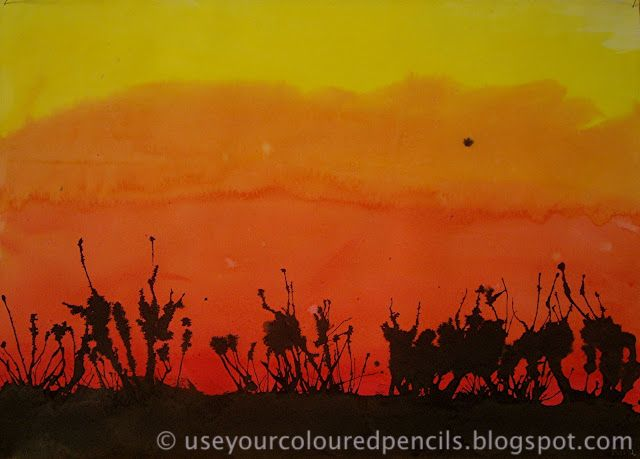 Brush Fire / Ink Splatter / Foreground / Background Sunset Paintings