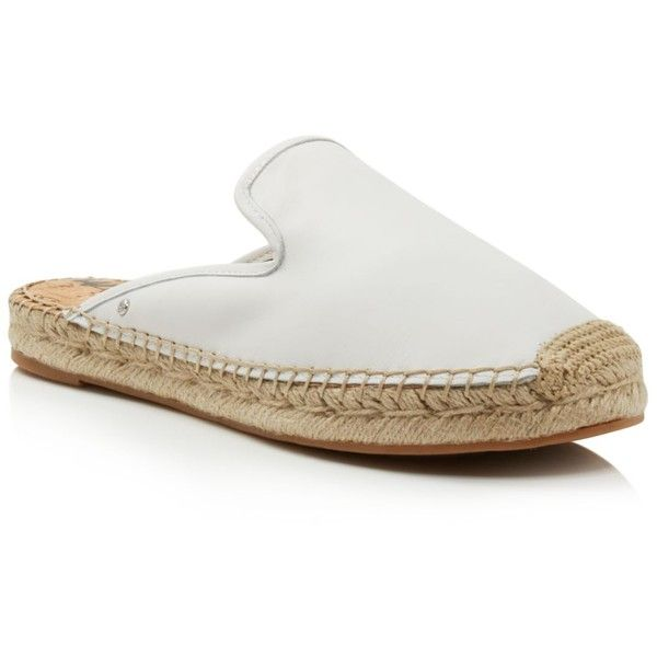 Sam Edelman Women's Kerry Leather Espadrille Mules (275 PEN) ❤ liked on Polyvore featuring shoes, white, leather espadrilles, leather mules, white leather shoes, white mules shoes and espadrilles shoes