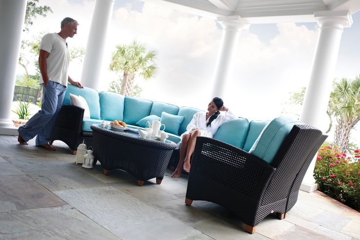 Plantation outdoor deep seating wicker sectional from Gloster.