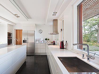 Fancy White modern L shaped kitchen