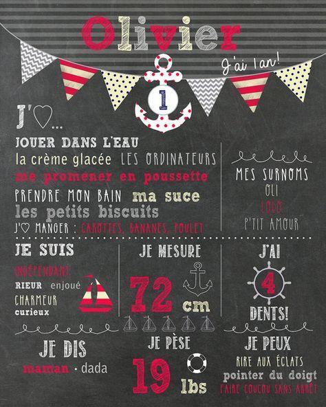 """Affiche personnalisée 1er anniversaire - thème """"nautique"""" - chalkboard_FICHIER NUMÉRIQUE, fête 1 an, garçon, souvenir, smash the cake"""