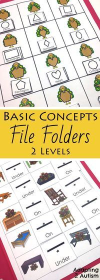 This Thanksgiving file folder activity pack is full of basic concepts practice for your special education or speech therapy students. Includes 10 concepts and 2 levels each including many visual supports for your students with autism.