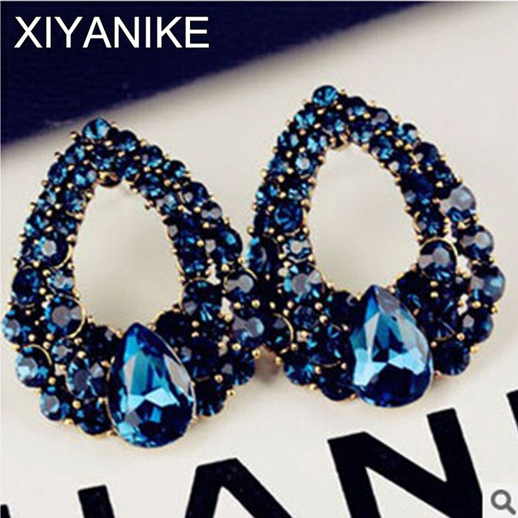New Fashion Elegant Angel's Tears Droplets Blue Gem Drop Water Stud Earrings Jewelry High-quality Accessories For Women XY-E509