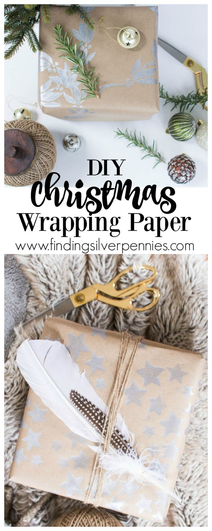 DIY Christmas Wrapping Paper by Finding Silver Pennies #sponsored