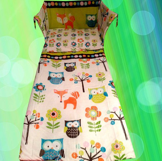 Owl Fox Cot Bedding Set Lime Green Blue Tree Forest - Unisex HANDMADE