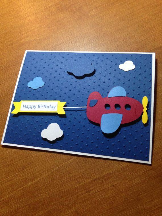 Cute Handmade Flying Airplane Birthday Card by InspirationsByEmi, $2.50