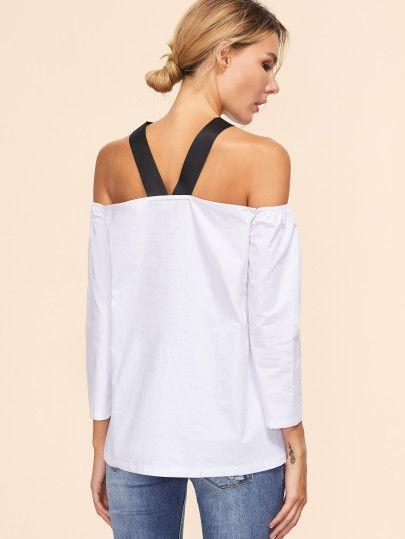 Top con hombros al aire - blanco -Spanish SheIn(Sheinside) Sitio Móvil