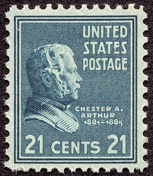 Chester A Arthur 1938 Issue-21c - The engraving of Chester A. Arthur appears on the 21-cent value of the 1938 Presidential Series, first issued on November 22 of 1938. The likeness was modeled after a marble bust of Arthur by Augustus Saint-Gaudens in 1891, now displayed in the US Senate Gallery.