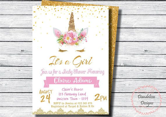 Unicorn baby shower invitation, Unicorn Invitation, Unicorn Party, baby girl, It's a girl, Gold Glitter, Unicorn, Unicorn face, Unicorn horn