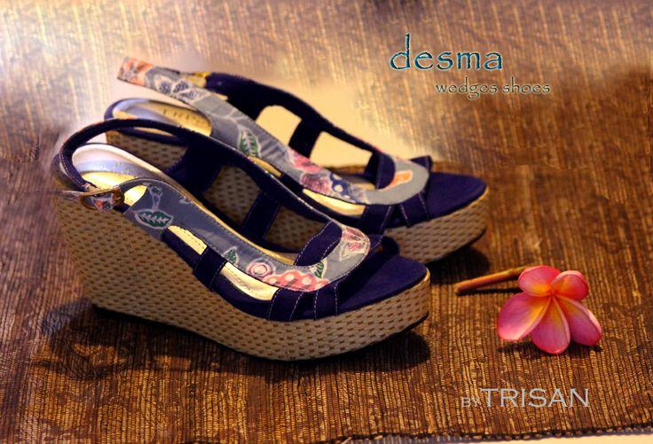 wedges batik Paoman blue