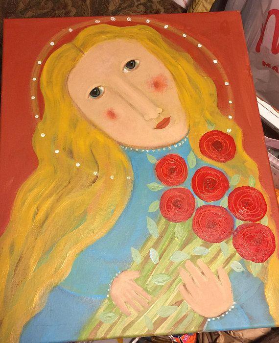 91 best folk art primitive naive painting rose walton images on ...