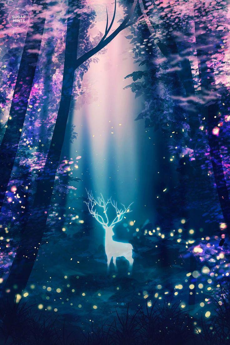 Deer fireflies art poster, Surreal Poster, Art Print