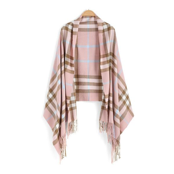 SheIn(sheinside) Pink Khaki Plaid Tassel Scarve ($15) ❤ liked on Polyvore featuring accessories, scarves, tassel scarves, cotton shawl, vintage shawl, tartan scarves and plaid shawl