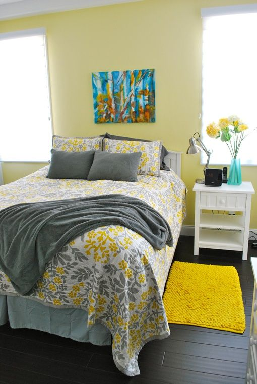 Meghan Yang Grey Yellow Bedroom: Love The Grey + Yellow Combo. I Think Iu0027d  Do The Accent Wall A Bit Deeper.