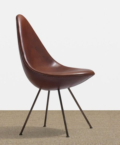 ARNE JACOBSEN, Drop chair from the SAS Royal Hotel by Fritz Hansen, Denmark , 1958. Leather, bronze-coated steel.