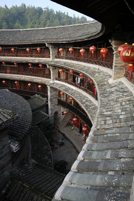 Looking into the courtyard of a Tulou (Communal Circular Mansion) in Fujian Province