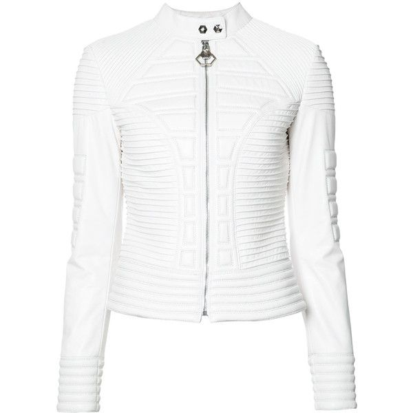 Philipp Plein ribbed jacket ($4,470) ❤ liked on Polyvore featuring outerwear, jackets, white, snap jacket, long sleeve jacket, zip front jacket, philipp plein jacket and philipp plein