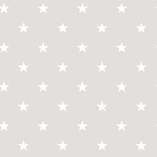 Deauville Stars Wallpaper An light grey wallpaper with an all over star design in white.