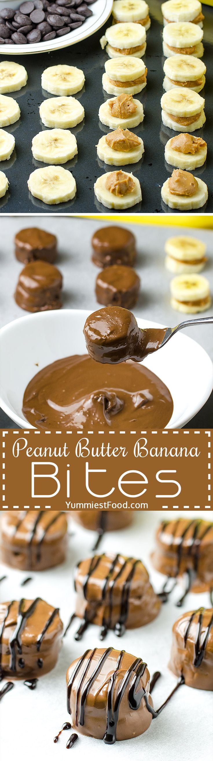 HEALTHY PEANUT BUTTER BANANA BITES - the best combination of peanut butter, chocolate and banana! Healthy, easy and quick to make! These Healthy Peanut Butter Banana Bites are so delicious and you need just three ingredients to make them!
