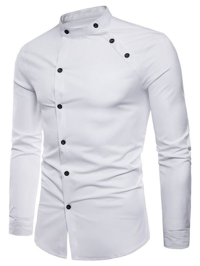 b034ee99980d Long Sleeve Oblique Button Design Stand Collar Shirt - WHITE M ...