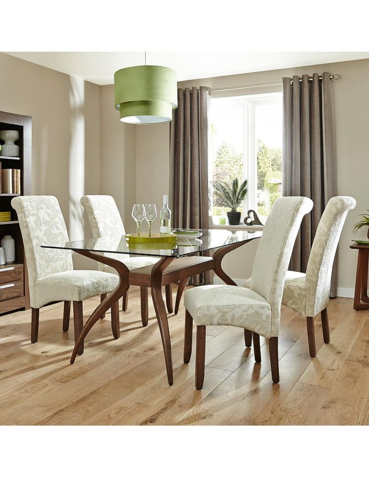 Knox Dining Table plus 4 Brook Floral Fabric Chairs | very.co.uk