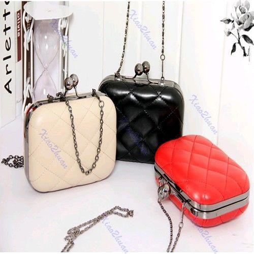 Vintage Chain Grid Pattern Ladies Shoulder Bags Clutch Purse Handbag Evening Bag #Unbrand #ShoulderBag
