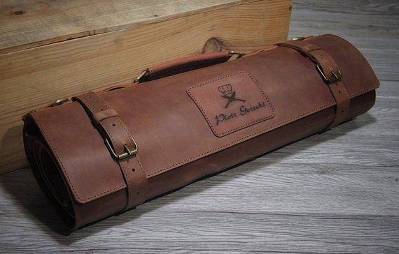499f71fbd38 Leather Knife Roll Chef knife case, Chef knife roll, Chef bag with ...