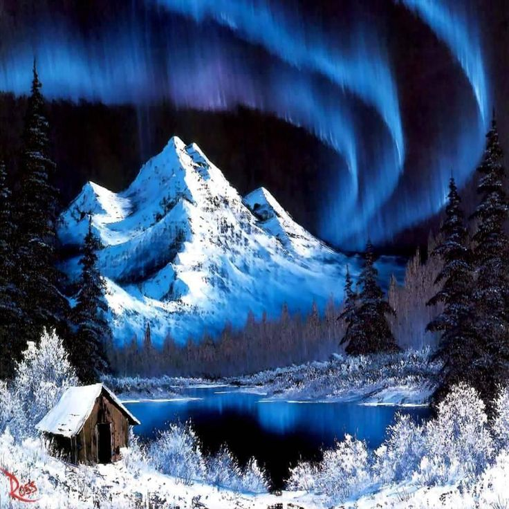 Painting by bob ross northern lights wallpaper for Lights for paintings