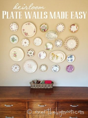 Heirloom Plate Wall Made Easy - such a beautiful way to display Heirloom plates with instructions on how to hang them from the wall!  From www.overthebigmoon.com!
